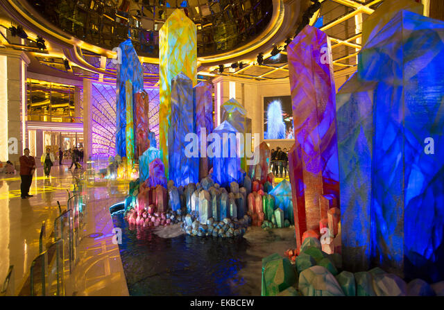 Crystal Lobby in Galaxy Hotel, Taipa, Macau, China, Asia - Stock Image