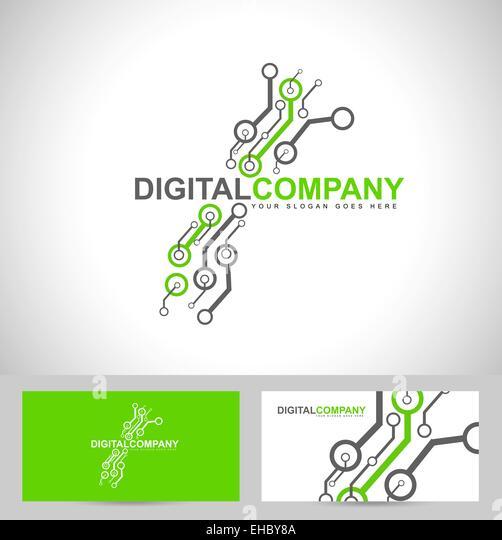 Digital electronics logo design. Creative electronic circuits logo vector - Stock Image
