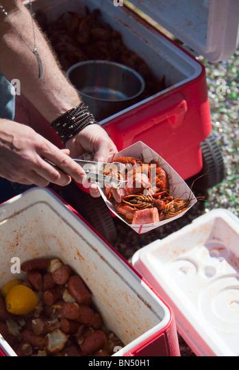 A Louisiana style crawfish boil in Austin, Texas - Stock Image