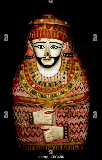 Anthropoid mummy case of a man Egypt Egyptian museum - Stock-Bilder