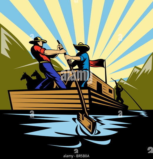 Illustration of a Cowboy man steering flatboat along river - Stock Image