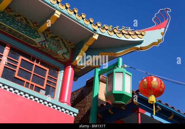 Chinese architecture, Chinatown, Los Angeles, California, United States of America, North America - Stock Image