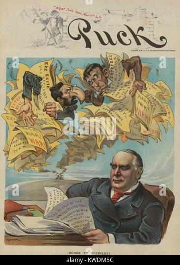 HONOR TO MCKINLEY! Political cartoon from Puck Magazine, Mar. 23, 1898. President William McKinley resists the hawkish - Stock Image
