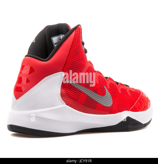 Nike Zoom Without A Doubt Red, White and Black Men's Basketball Shoes - 749432-601 - Stock Image