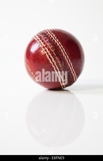 Close-up of a Cricket Ball - Stock Image