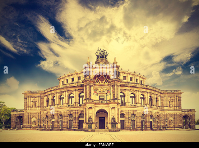 Dresden opera theater, Germany, retro vintage effect. - Stock Image
