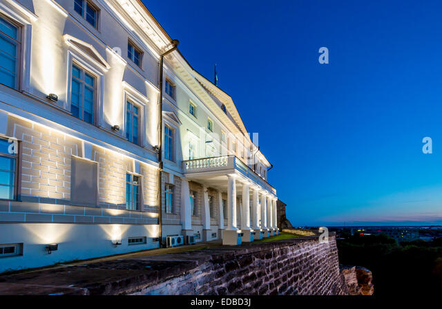 Stenbock House or Stenbocki maja, the seat of the Estonian government, in the blue hour, Tallinn, Estonia - Stock Image
