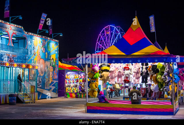 Amusement park at the Clark County Fair and Rodeo held in Logandale Nevada - Stock Image