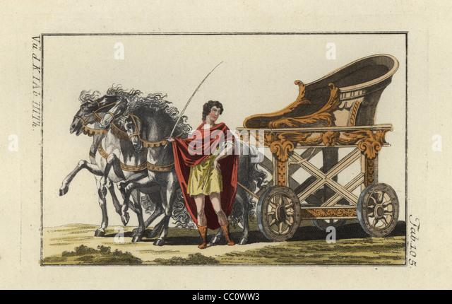 Four-horse chariot of the Praetorian Prefect, Praefectus praetorio. - Stock Image