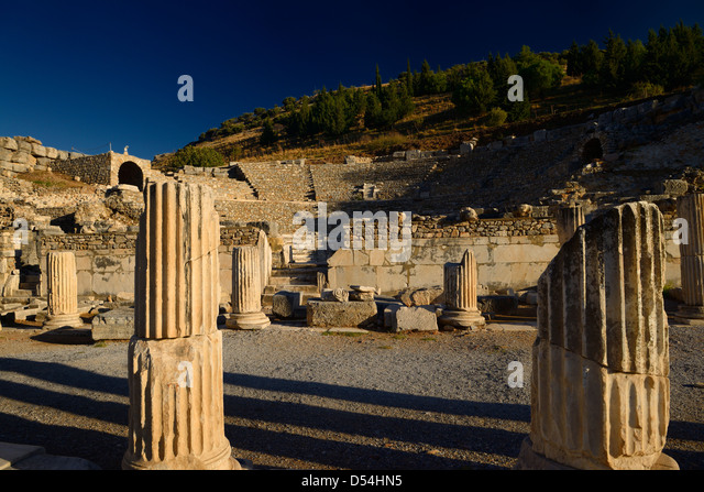Bouleuterion for council meetings and small theatre Odeon for concerts in ancient Ephesus Turkey - Stock Image