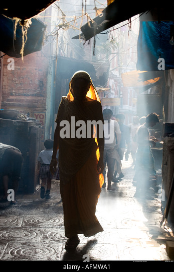 Woman in street Varanasi India - Stock-Bilder