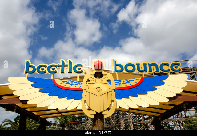 Legoland Florida Beetle Bounce ride with Egyptian design, Winter Haven, FL - Stock Image