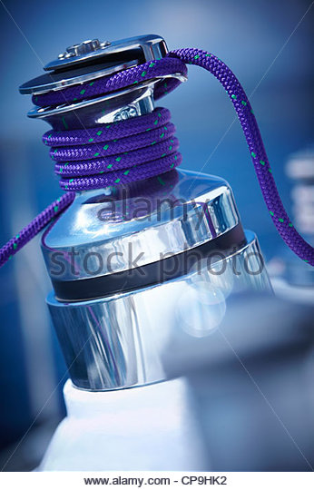 boat,cable,color image,connection,cord,detail,focus on background,metal,no people,photography,power - Stock Image