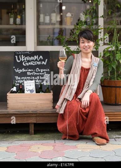 Naoko Nagasone founder of Ukishima Garden vegan / vegetarian restaurant, Naha, Okinawa - Stock Image