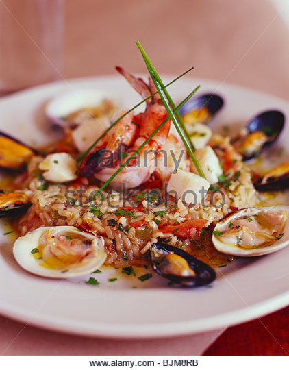 Elegant Shellfish and Rice Entree - Stock Image