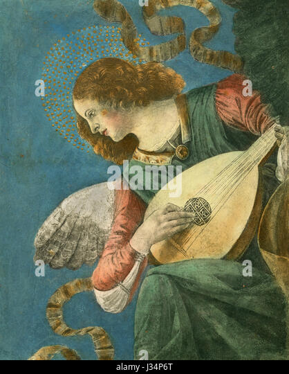 Angel playing lute, painting by Melozzo da Forlì, SS Apostles church, Rome, Italy - Stock Image