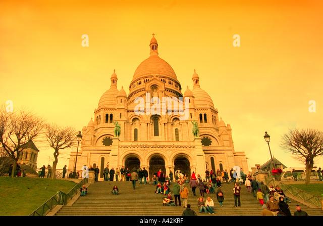 Paris France Montmatre Basilica de Sacre Coeur - Stock Image