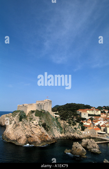Dubrovnik Croatia Old Town medieval Walled City scenic landscape - Stock Image