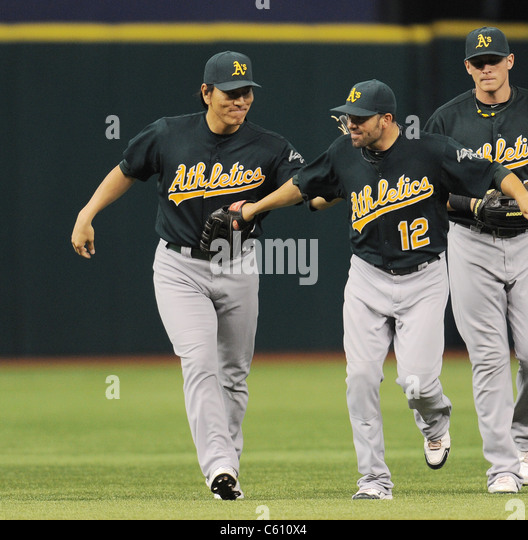 Japan Baseball Star : Hideki Matsui (AThletics) playing for the game against the Tampa Bay Rays. - Stock Image