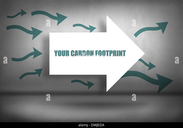 Your carbon footprint against arrows pointing - Stock Image