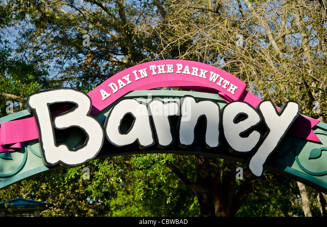 A Day in the Park With Barney kids attraction sign at Universal Studios Orlando Florida - Stock Image