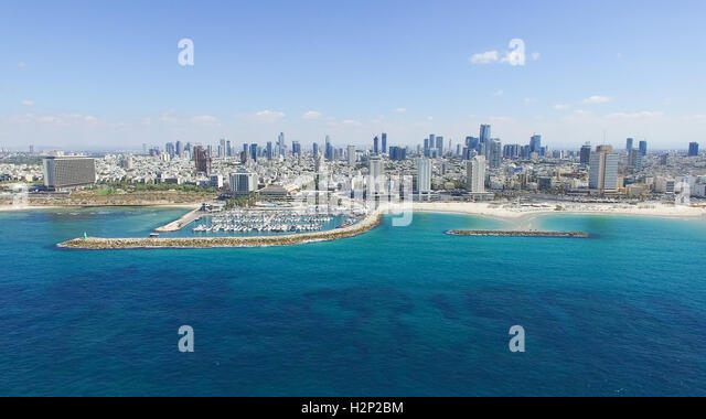 Tel Aviv skyline - Moving in from the mediterranean sea, Aerial image - Stock Image