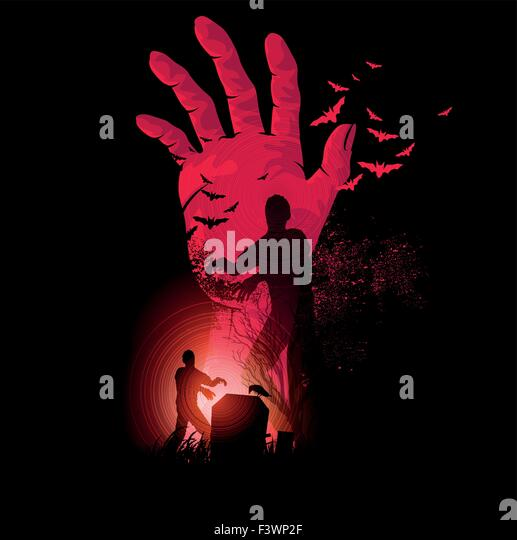 Zombie Night. A zombie hand rising up with zombies walking. Halloween Vector illustration. - Stock Image