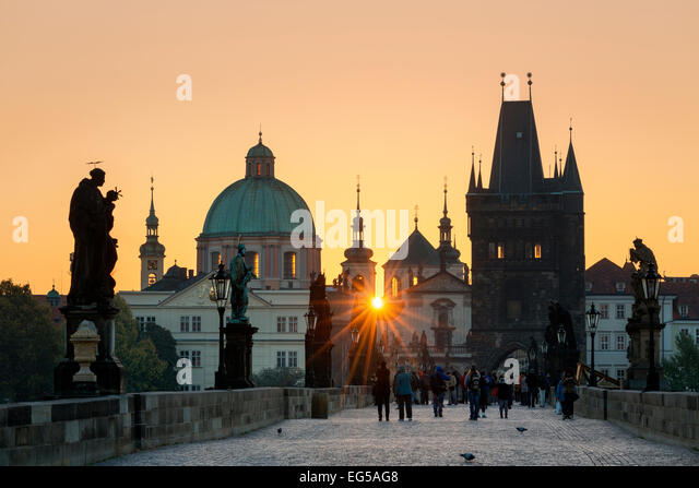 Prague, Charles Bridge at Sunrise - Stock Image