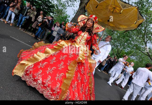 Maracatu-Treffen, Brasilien, Karneval der Kulturen, Kreuzberg, Berlin, Deutschland - Stock-Bilder