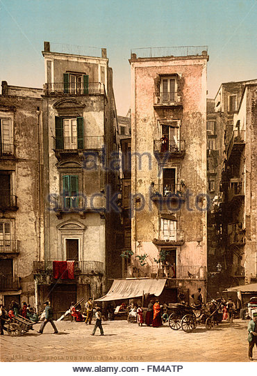 two-alleys-in-santa-lucia-naples-italy-ca-1895 - Stock Image