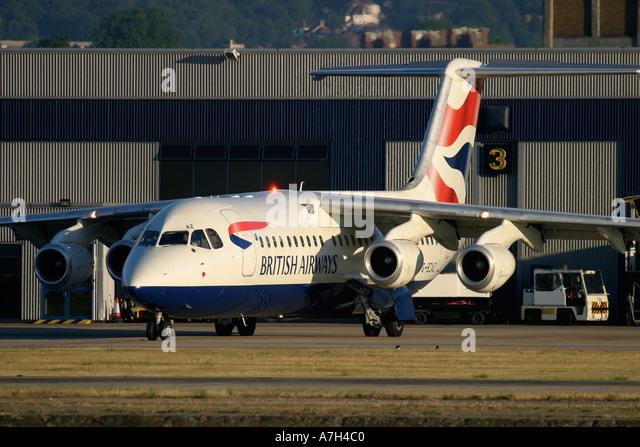 BAe 146 British Airways at London City Airport 2004 - Stock Image