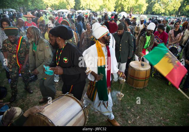 London UK 5th August 2017  The Rastafari Movement UK celebrate Africa international day of action in Kennington - Stock Image