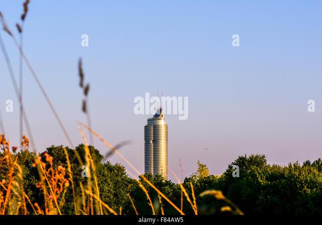 Millenium Tower, river Danube, Vienna, Austria - Stock Image