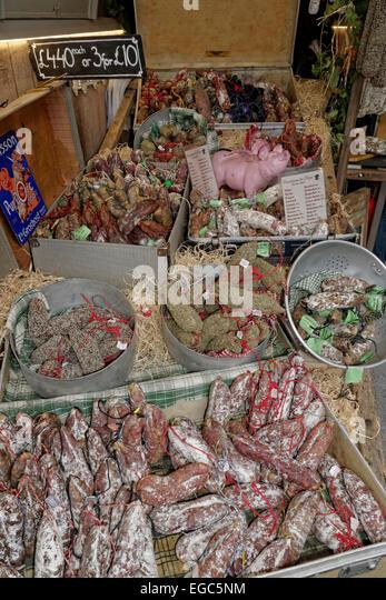 Gourmet Food, Sausages, Boroughs Market, London,  United Kingdom, - Stock Image