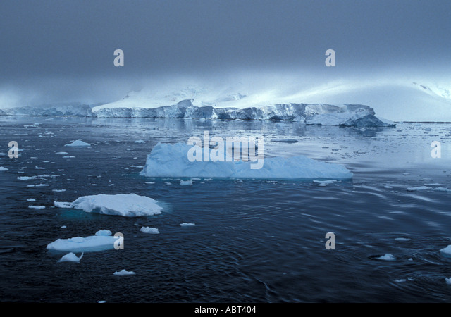 ANTARCTICA Icebergs Low Cloud Cover Errera Channel - Stock Image