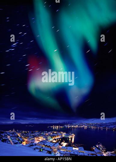 Aurora borealis near Hammerfest, Northern Norway, Norway - Stock-Bilder