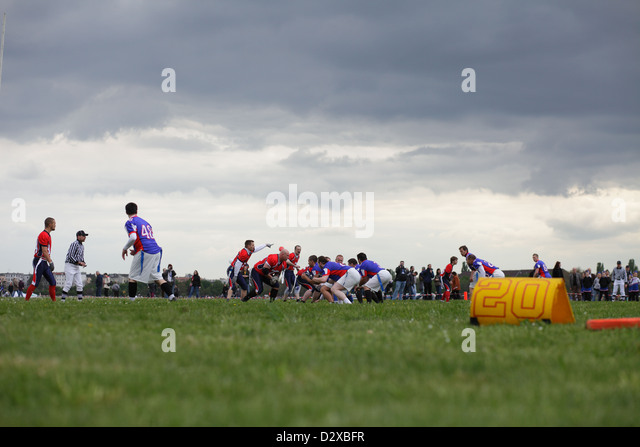 Berlin, Germany, American Football players in Tempelhof Park - Stock Image