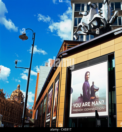French Connection Summer advertising campaign You Are Man? and Harrods Department store Knightsbridge London England - Stock Image