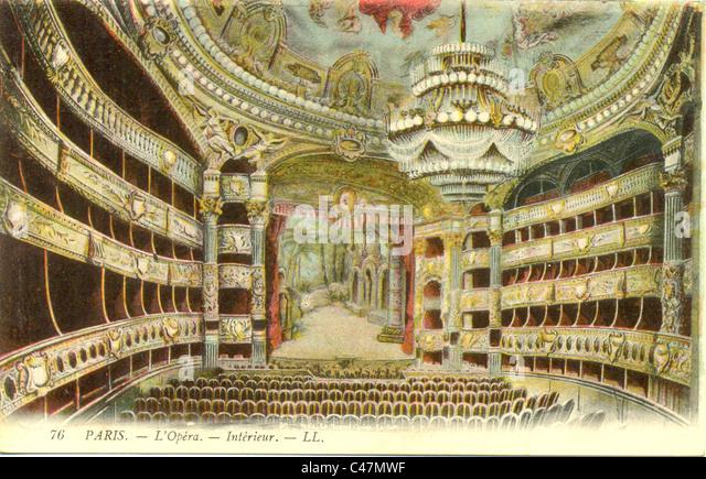 Postcard of interior of the Opera House, Paris - Stock Image