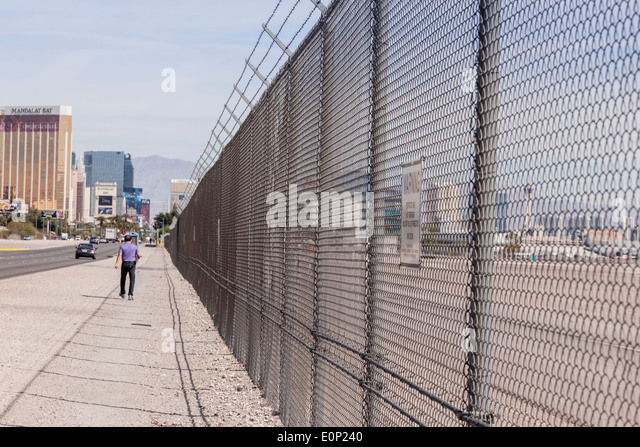 Security fence, Las Vegas. - Stock Image