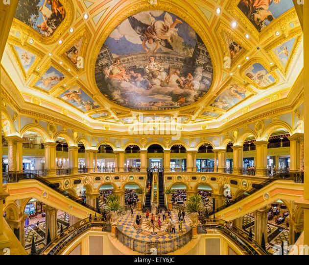 Ornate interior of  The Venetian Macao casino and hotel in Macau China - Stock Image