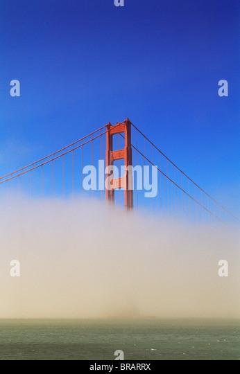 Golden Gate Bridge in fog, San Francisco, California, United States of America, North America - Stock Image