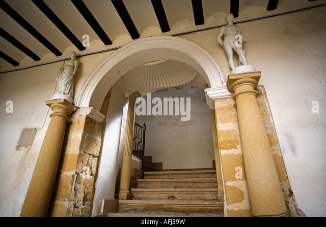 patio of a house palace ubeda patrimony of the humanity jaen Andalusia Spain - Stock Image