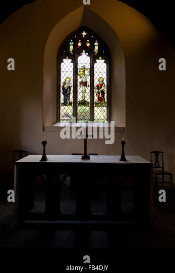 St Just in Roseland Church Windows, Roseland Peninsula,Cornwall, South West, UK - Stock-Bilder
