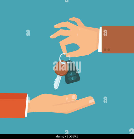 Car rental or sale concept in flat style - hand holding car key - Stock-Bilder