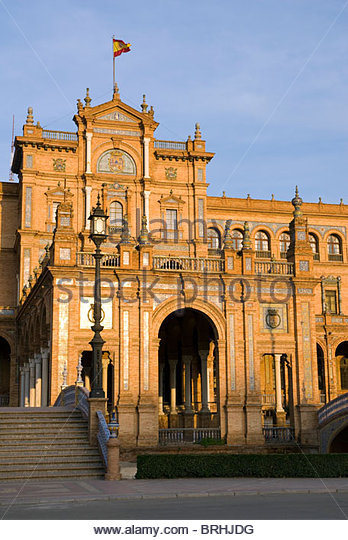 The 1929 Exposition Building in the Plaza de Espana, Seville. - Stock Image