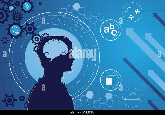 A vector illustration of the function of human brain concept - Stock Image