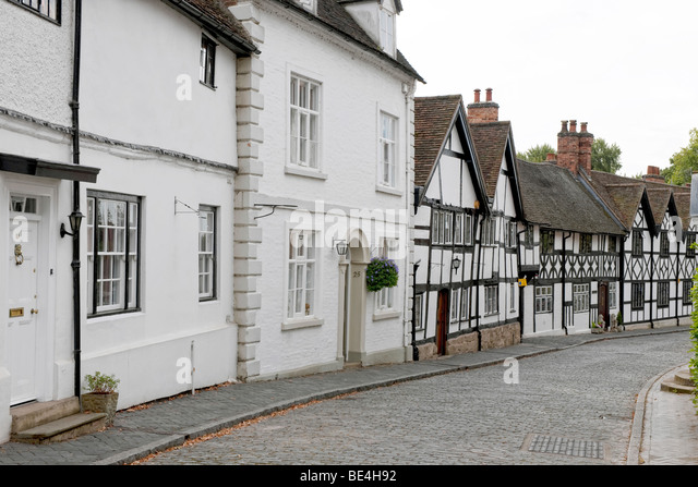 Cobbled street in Warwick - Stock Image