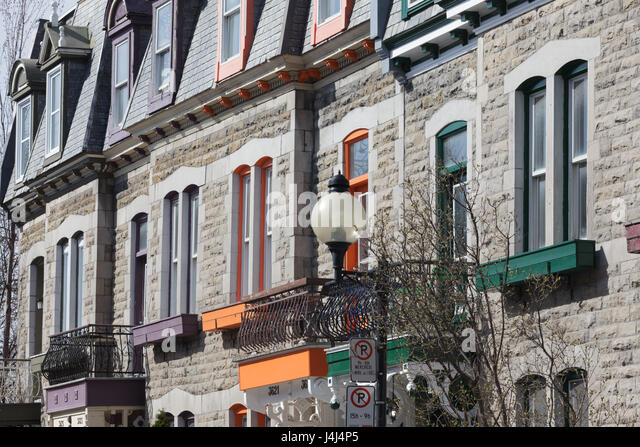 Residential architecture in the Plateau Mont-Royal neighborhood, Montreal, Quebec, Canada - Stock Image