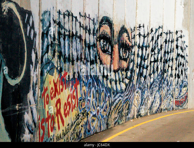 Graffiti on the wall between Israel and Palestine. This was located near the guardpost / checkpoint to pass from - Stock Image